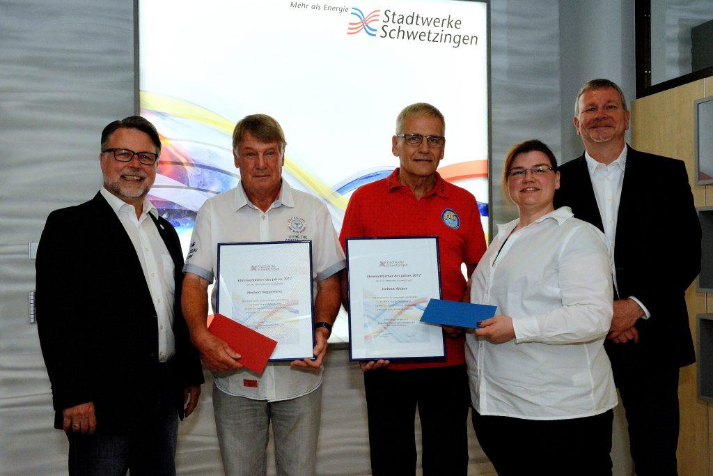 HG-Vorstand Peter Knapp, Herbert Niggemeier, Helmut Weber, Stadtwerke-Geschäftsführerin Martina Braun und HG-Vorstand Jochen Kühnle